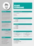 CV del minimalist, plantilla del curriculum vitae ilustración del vector