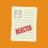 Cv denial. resume, personal file. Pack of sheets of paper with stamp of rejected. Summary with  mark about refusal. Cv denial. resume, personal file Stock Photo