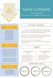 CV-design, meritförteckning royaltyfri illustrationer