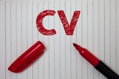 Cv do texto da escrita da palavra Conceito do negócio para o papel de Infographics Job Searching Employee Recruitment Notebook do foto de stock