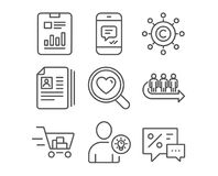Cv documents, Queue and User idea icons. Shopping cart, Copywriting network and Report document signs. Set of Cv documents, Queue and User idea icons. Shopping Stock Photo