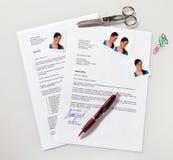 CV e letra da aplicação em inglês Imagens de Stock
