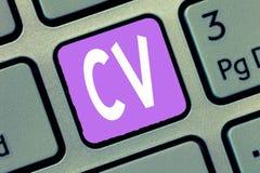 CV för ordhandstiltext Affärsidéen för liv för jobbsökare erfar utbildningsfärdighetexpertis och sakkunskap arkivbild