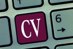 CV för ordhandstiltext Affärsidéen för liv för jobbsökare erfar utbildningsfärdighetexpertis och sakkunskap royaltyfria bilder
