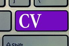 CV för ordhandstiltext Affärsidéen för liv för jobbsökare erfar utbildningsfärdighetexpertis och sakkunskap arkivfoton