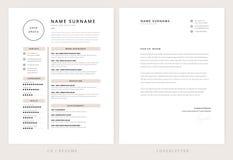 CV-/meritförteckning- och följebrevmall - elegant stilfullt royaltyfri illustrationer