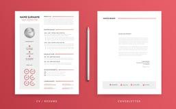 CV-/meritförteckning- och följebrevmall Toppen rengöring och klar ändring stock illustrationer