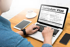 CV - Program Nauczania - vitae (Akcydensowego wywiadu pojęcie z biznesu CV zdjęcie stock