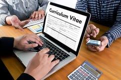 CV - Program - vitae (begrepp för jobbintervju med beträffande affärsCV Arkivfoton