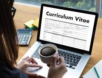 CV - Program - vitae (begrepp för jobbintervju med beträffande affärsCV royaltyfri fotografi