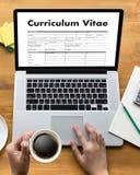 CV - Program - vitae (begrepp för jobbintervju med beträffande affärsCV Arkivbilder