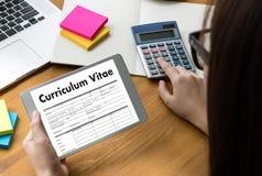 CV - Program - vitae (begrepp för jobbintervju med beträffande affärsCV Arkivbild