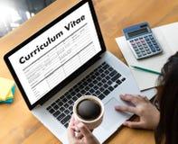 CV - Program - vitae (begrepp för jobbintervju med beträffande affärsCV Royaltyfri Bild