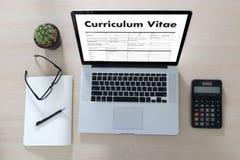 CV - Program - vitae (begrepp för jobbintervju med beträffande affärsCV Royaltyfria Bilder