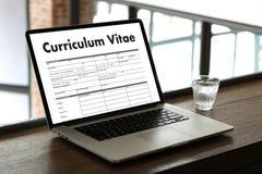 CV - Program - vitae (begrepp för jobbintervju med beträffande affärsCV Royaltyfri Foto