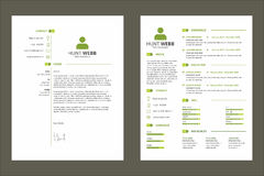 CV Resume Curriculum Vitae Green Color with Tag Template Resource Stock Photography