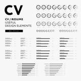 Curriculum vitae useful design elements set - Skills icons. Curriculum vitae useful design elements set - CV / Resume design elements - Skills icons set Stock Images