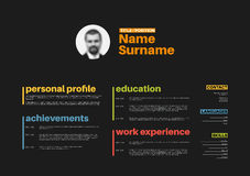 Cv / resume template with nice typography Stock Images