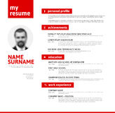 Cv / resume template with nice typography Royalty Free Stock Image