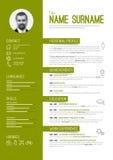 Cv / resume template. Vector minimalist cv / resume template - green version vector illustration