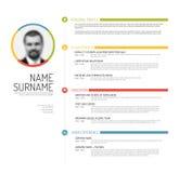 Cv / resume template. Vector minimalist cv / resume template - minimalistic colorful version royalty free illustration