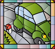 2cv stained glass. Stained glass window of Citroen 2cv Stock Image
