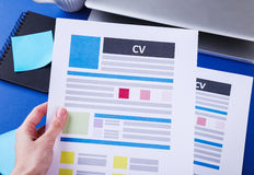 CV on the table Stock Photos