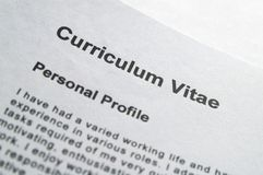 CV title page Stock Image