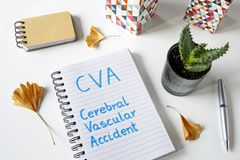 CVA Cerebral Vascular Accident written in a notebook. On white table Stock Photos