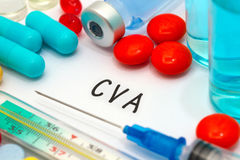CVA. Diagnosis written on a white piece of paper. Syringe and vaccine with drugs stock photo