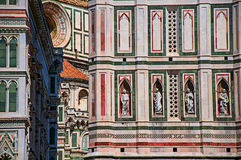 CView of detail carved in marble from the Santa Maria del Fiore Cathedral and Giotto`s Campanile in Florence. View of detail carved in marble from the Cathedral Stock Image