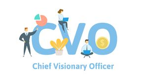 CVO, chief visionary officer. Concept with keywords, letters and icons. Flat vector illustration. Isolated on white vector illustration