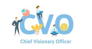 CVO, oficial visionário principal Conceito com palavras-chaves, letras e ícones Ilustração lisa do vetor Isolado no branco ilustração do vetor