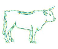 Cow on the white background is looking ahead. Cow designed as a line-art icon using special AI brush. This icon for nature, farm and food sector issues