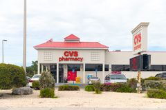 CVS-Apotheekopslag in de stad van Fort Worth CVS is de grootste apotheekketting in de Verenigde Staten stock foto