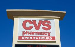 CVS store sign advertising pharmacy services. Stock Photography
