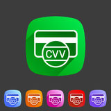 CVV card security code credit icon flat web sign symbol logo label Stock Images