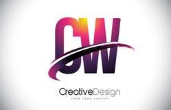 CW C W Purper Brievenembleem met Swoosh-Ontwerp Creatief Magenta M royalty-vrije illustratie