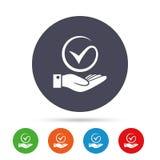 Cwelicha i ręki znak Palma trzyma czek oceny symbol ilustracji
