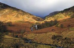 Cwm-y-llan vattenfall från den Watkins banan Snowdon Snowdonia Wales arkivbilder