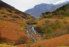 Cwm-y-llan, waterfall tumbling off Snowdon Stock Images