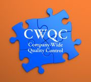 CWQC on Blue Puzzle Pieces. Business Concept. Royalty Free Stock Images