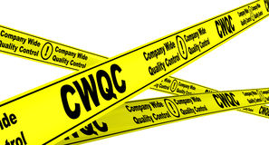 CWQC. Company Wide Quality Control. Yellow warning tapes Royalty Free Stock Photos