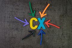 CX, концепция опыта клиента, красочные стрелки указывая к горной вершине Стоковое Изображение RF