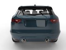 Cyaan azuurblauw modern SUV - achtermening royalty-vrije illustratie