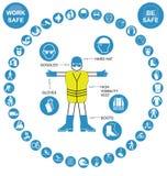 Cyaan cirkelgezondheid en Veiligheidspictograminzameling Stock Afbeelding