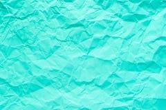 Cyaan en heldergroene verfrommelde document textuurachtergrond royalty-vrije stock afbeelding