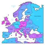 Cyaan en violette kaart van Europa Stock Fotografie