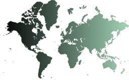 Cyaan kaart van de wereld   Stock Afbeeldingen
