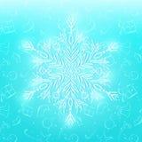 Сияющая белая снежинка на Cyan предпосылке Стоковые Фотографии RF